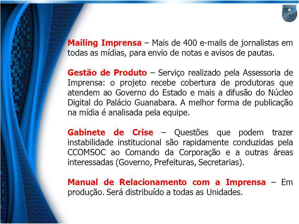 Mailing Imprensa – Mais de 400 e-mails de jornalistas em todas as mídias, para envio de notas e avisos de pautas.