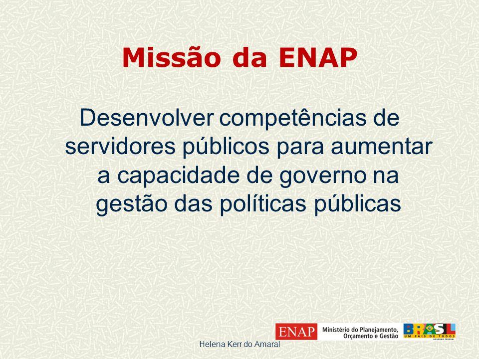 Missão da ENAP Desenvolver competências de servidores públicos para aumentar a capacidade de governo na gestão das políticas públicas.
