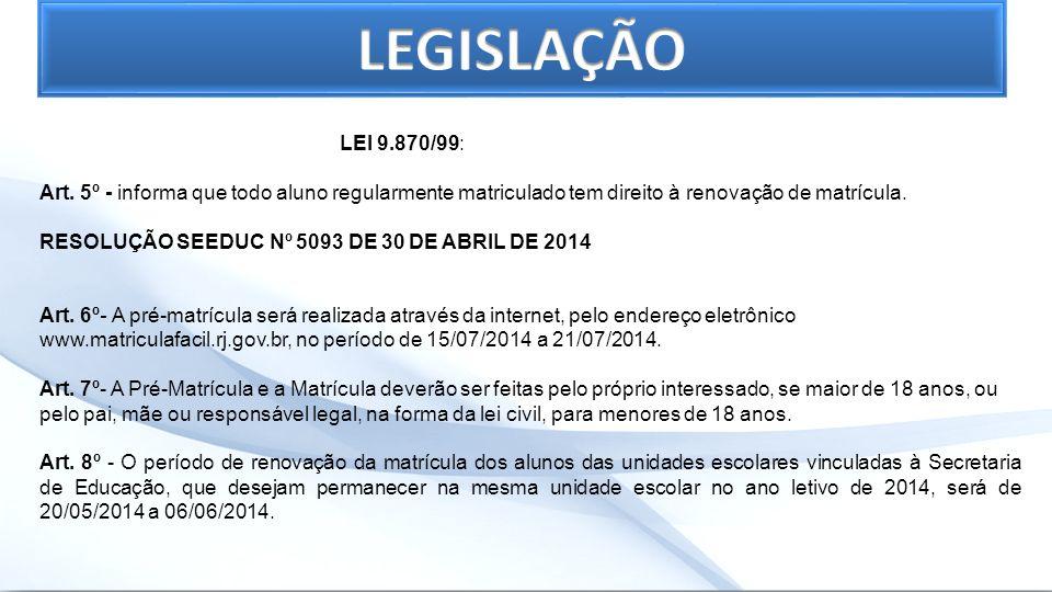 LEGISLAÇÃO LEI 9.870/99: Art. 5º - informa que todo aluno regularmente matriculado tem direito à renovação de matrícula.