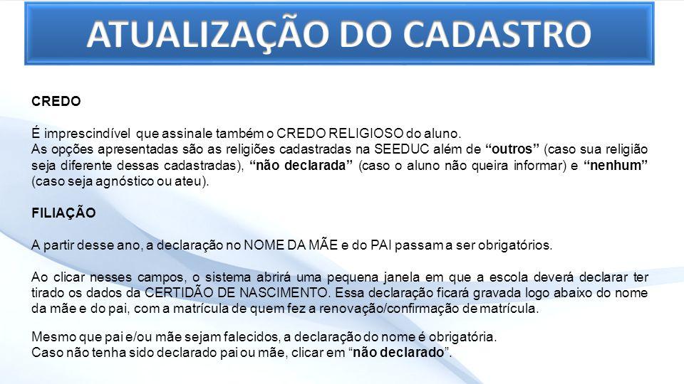 ATUALIZAÇÃO DO CADASTRO