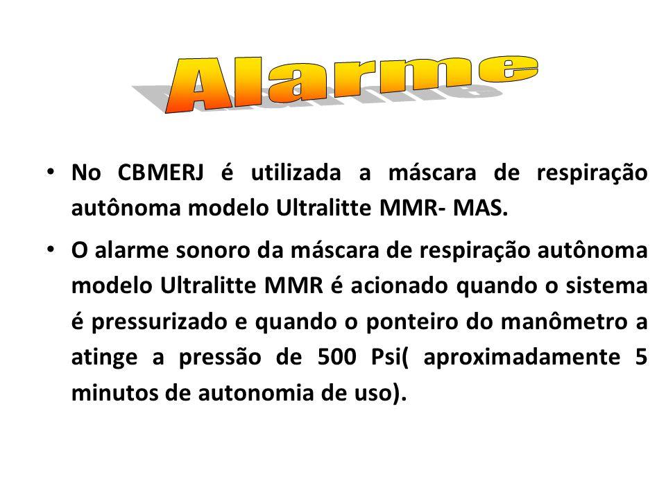 Alarme No CBMERJ é utilizada a máscara de respiração autônoma modelo Ultralitte MMR- MAS.