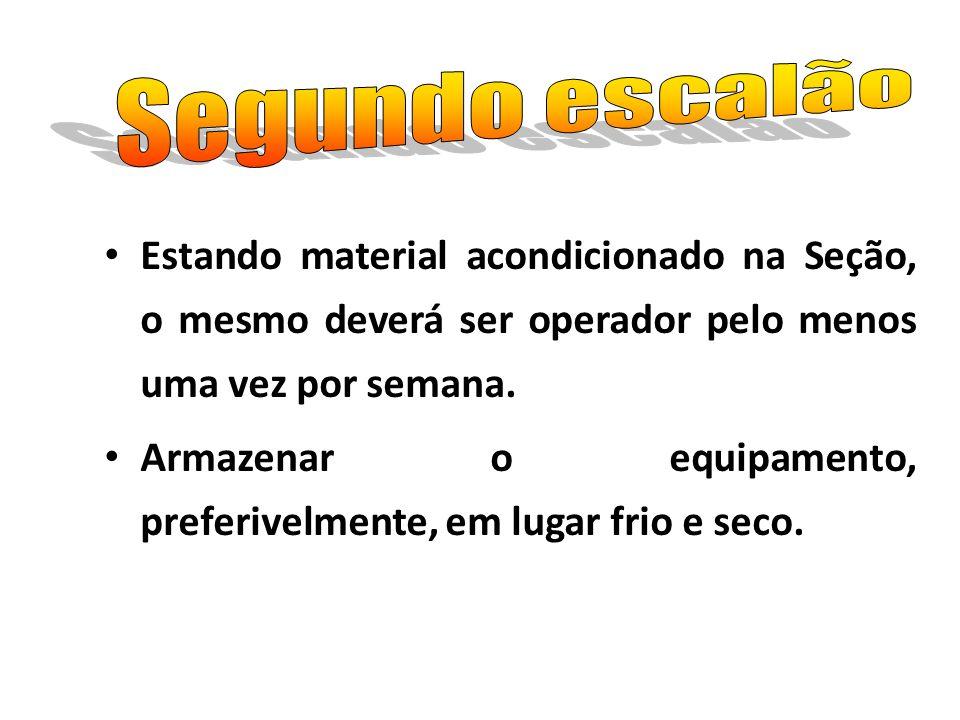 Segundo escalão Estando material acondicionado na Seção, o mesmo deverá ser operador pelo menos uma vez por semana.