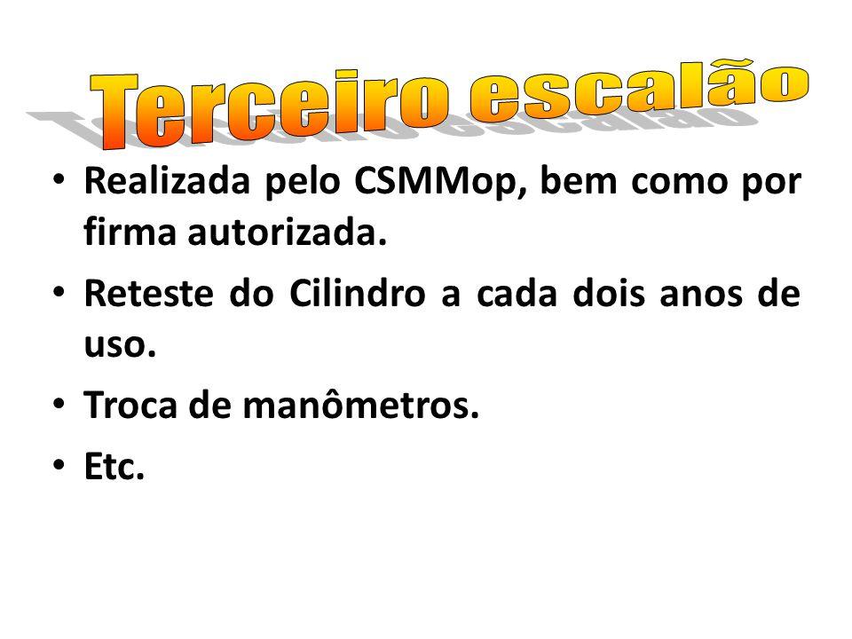 Terceiro escalão Realizada pelo CSMMop, bem como por firma autorizada. Reteste do Cilindro a cada dois anos de uso.