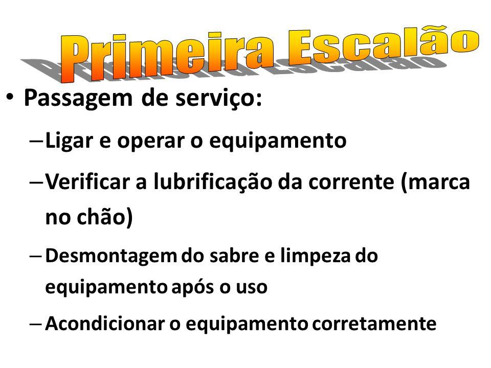 Passagem de serviço: Primeira Escalão Ligar e operar o equipamento