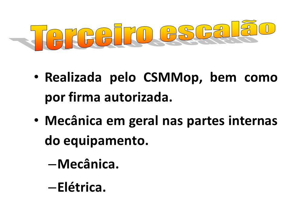 Terceiro escalão Realizada pelo CSMMop, bem como por firma autorizada. Mecânica em geral nas partes internas do equipamento.