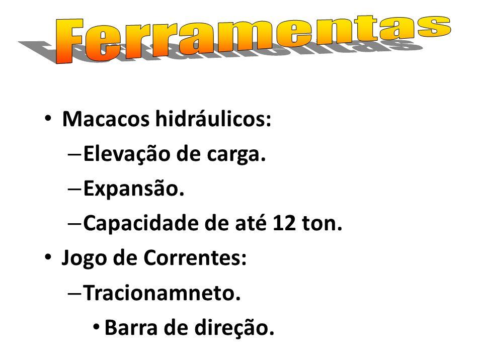Ferramentas Macacos hidráulicos: Elevação de carga. Expansão. Capacidade de até 12 ton. Jogo de Correntes: