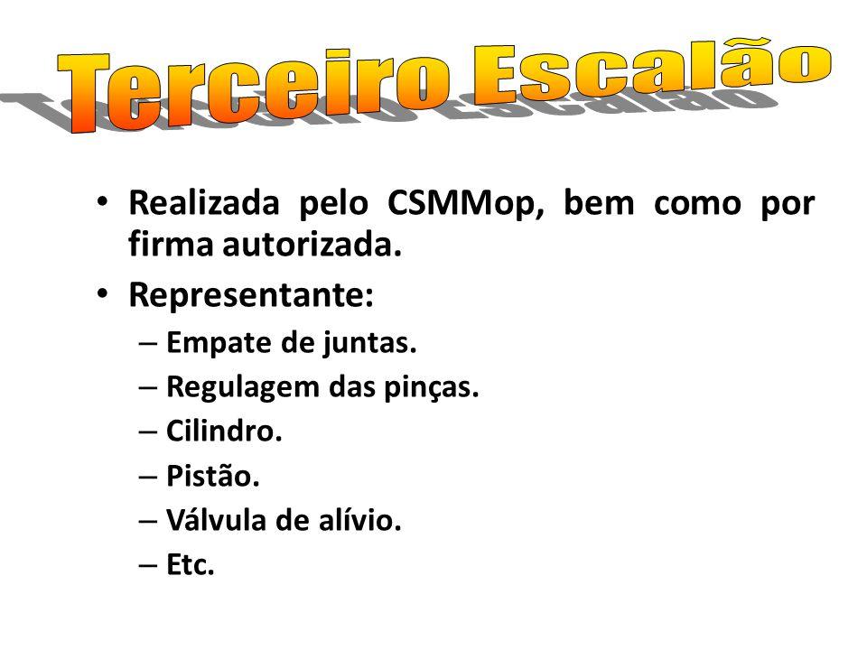 Terceiro Escalão Realizada pelo CSMMop, bem como por firma autorizada.