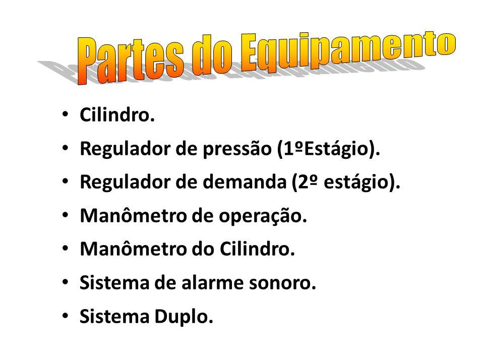 Partes do Equipamento Cilindro. Regulador de pressão (1ºEstágio).