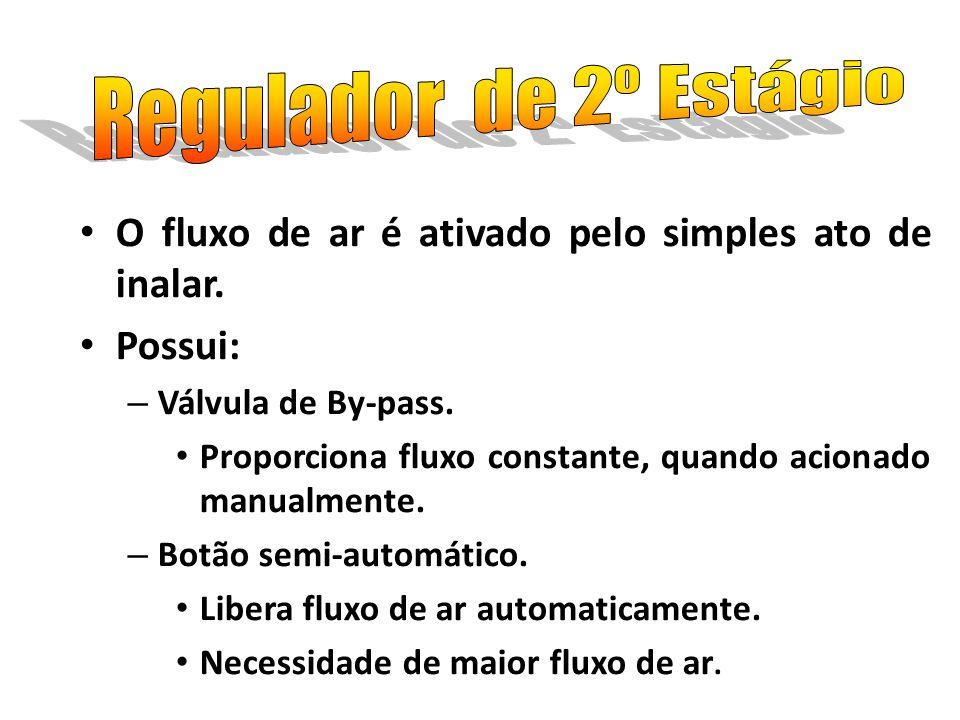 Regulador de 2º Estágio O fluxo de ar é ativado pelo simples ato de inalar. Possui: Válvula de By-pass.