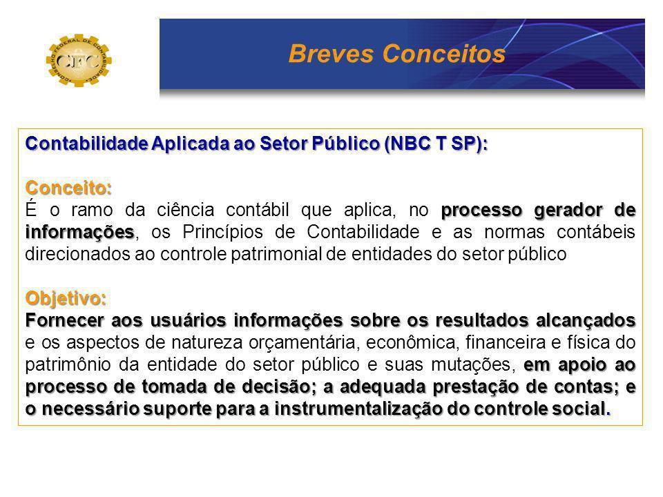 Breves Conceitos Contabilidade Aplicada ao Setor Público (NBC T SP):