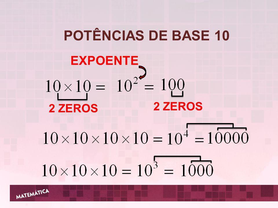 POTÊNCIAS DE BASE 10 EXPOENTE 2 ZEROS 2 ZEROS