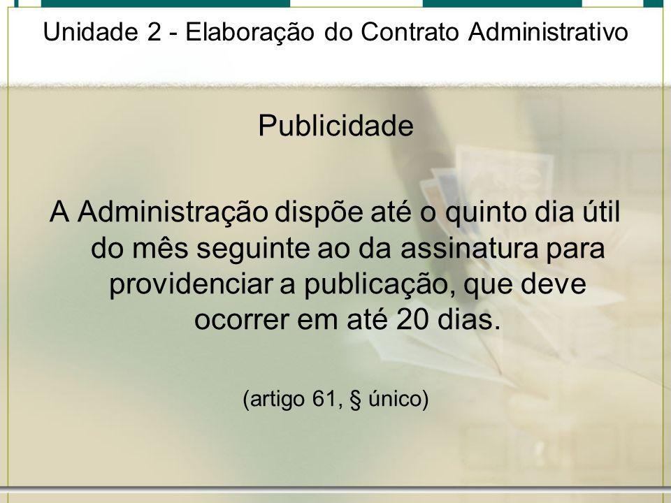 Unidade 2 - Elaboração do Contrato Administrativo