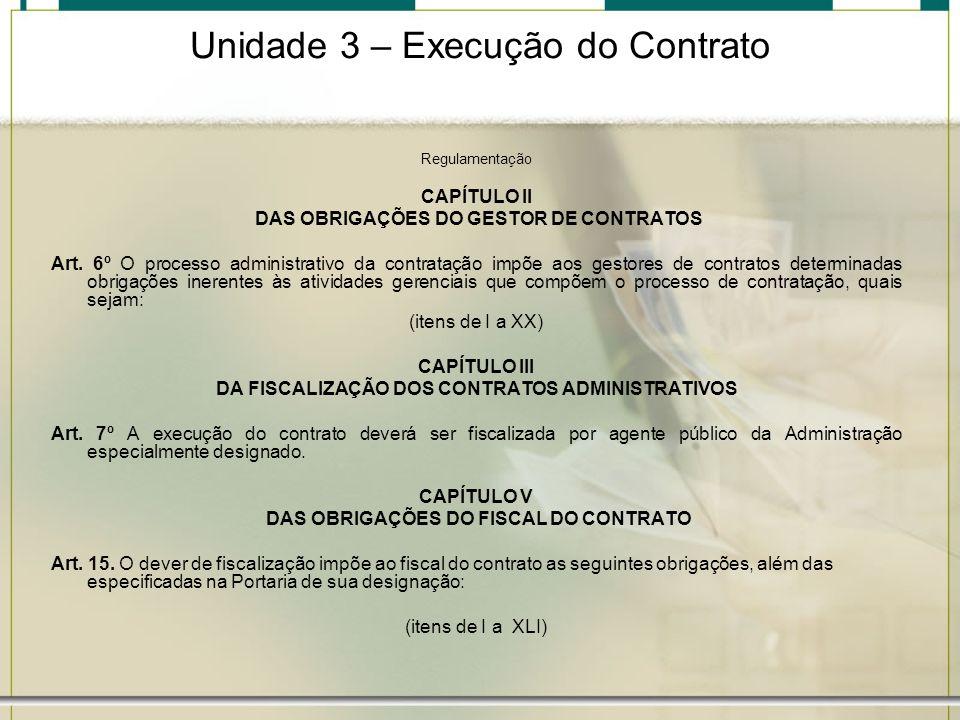 Unidade 3 – Execução do Contrato