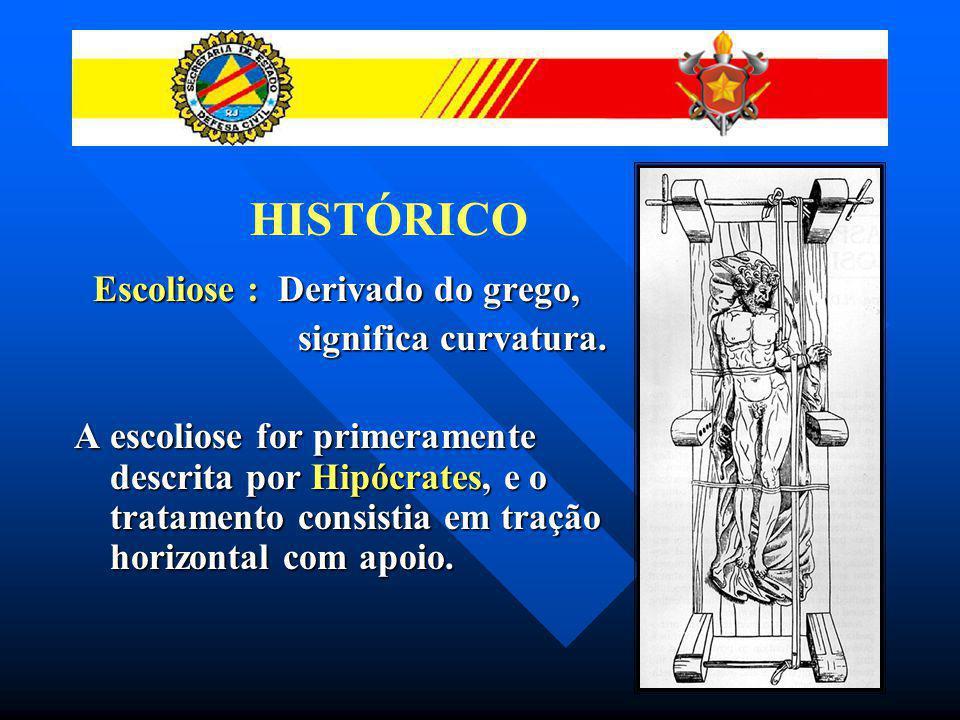 HISTÓRICO Escoliose : Derivado do grego, significa curvatura.