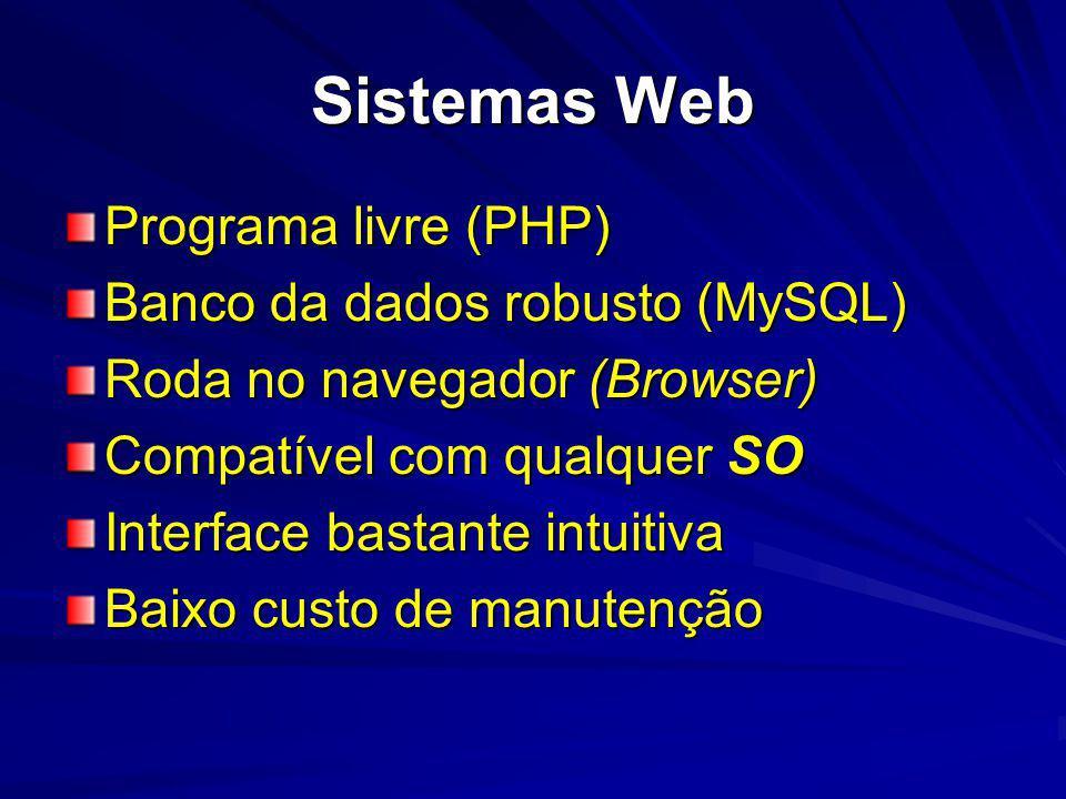 Sistemas Web Programa livre (PHP) Banco da dados robusto (MySQL)