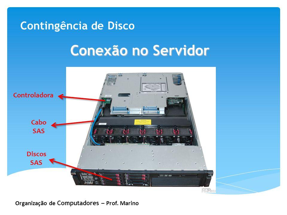 Conexão no Servidor Contingência de Disco Controladora Cabo SAS Discos
