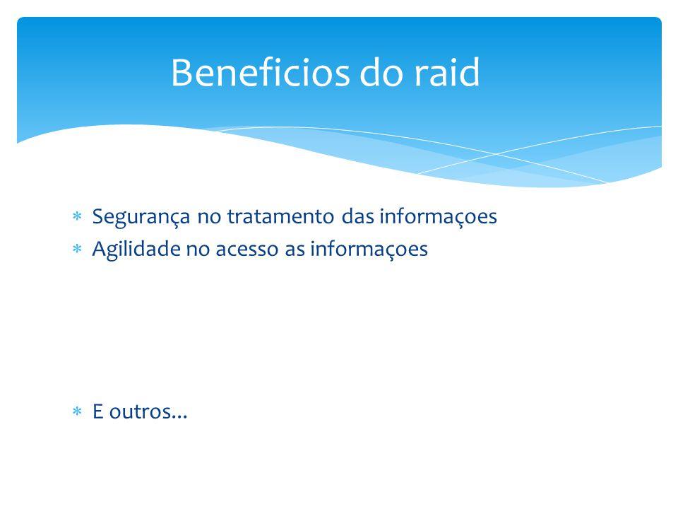 Beneficios do raid Segurança no tratamento das informaçoes