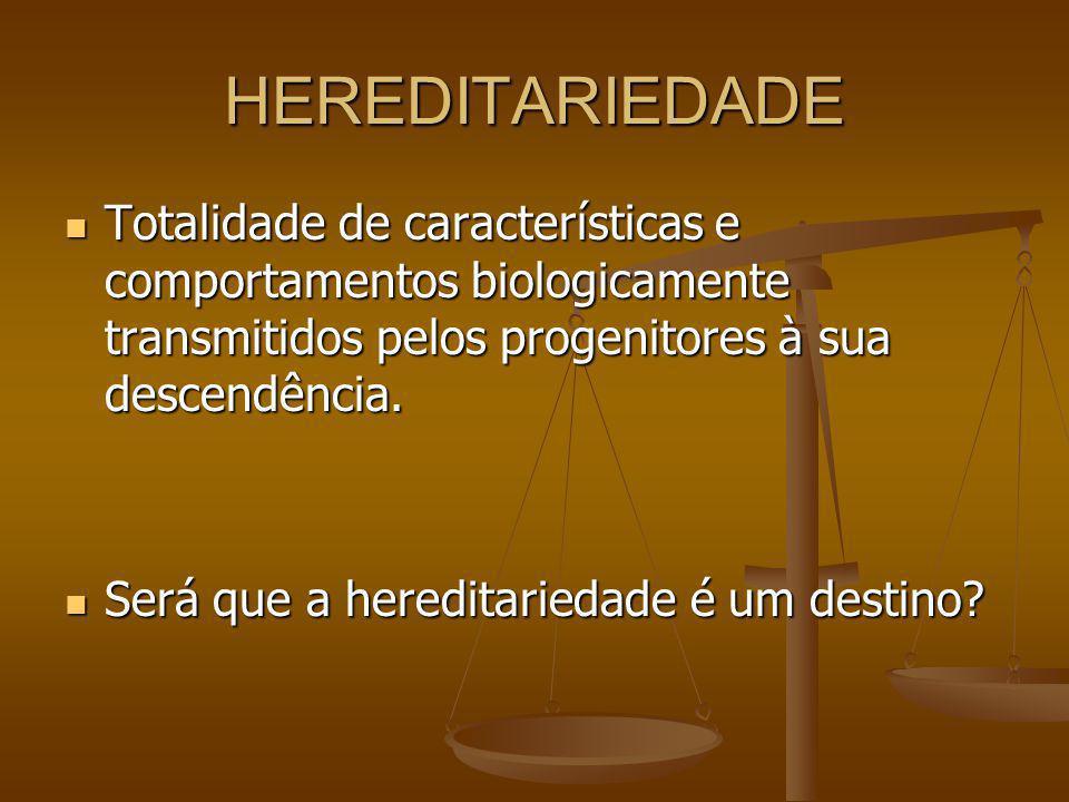 HEREDITARIEDADE Totalidade de características e comportamentos biologicamente transmitidos pelos progenitores à sua descendência.