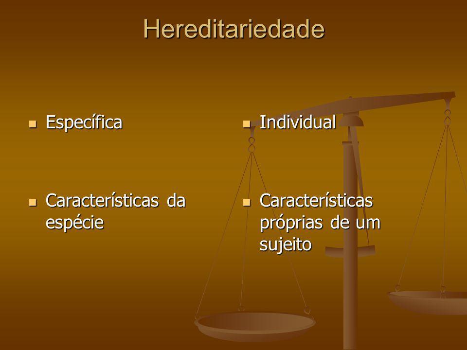 Hereditariedade Específica Características da espécie Individual