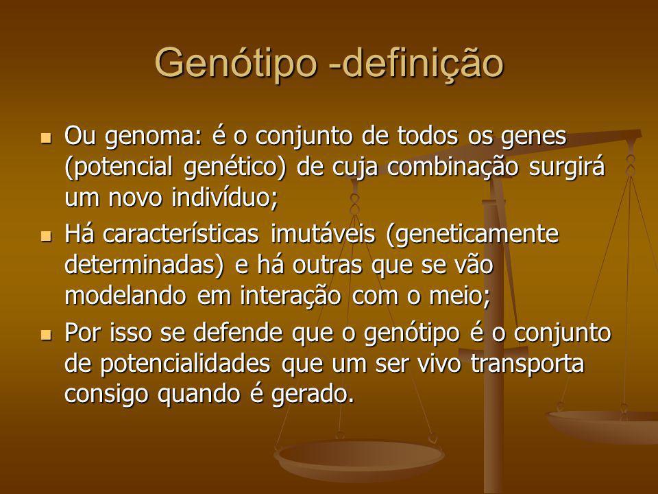 Genótipo -definição Ou genoma: é o conjunto de todos os genes (potencial genético) de cuja combinação surgirá um novo indivíduo;
