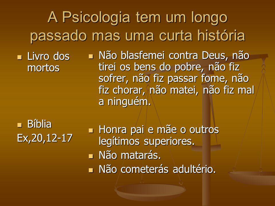 A Psicologia tem um longo passado mas uma curta história