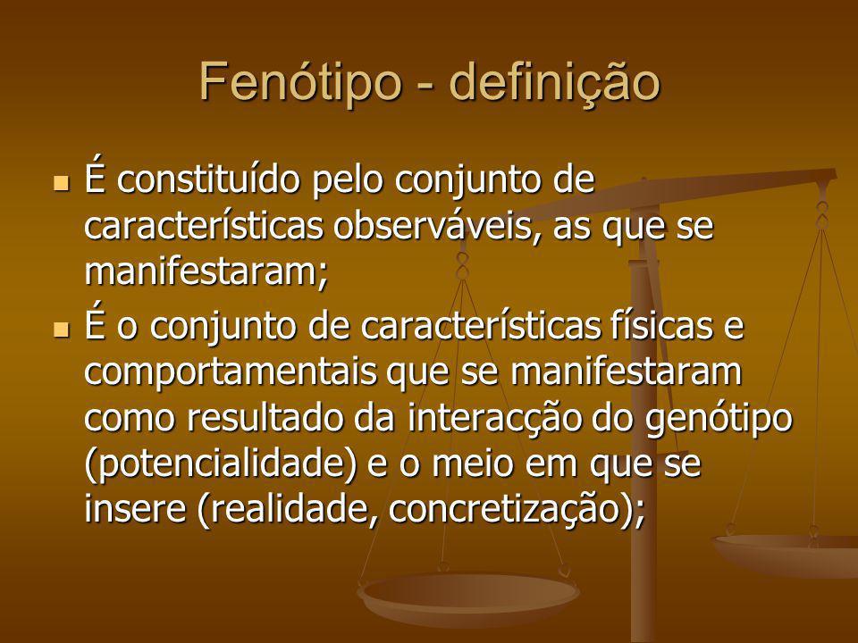 Fenótipo - definição É constituído pelo conjunto de características observáveis, as que se manifestaram;