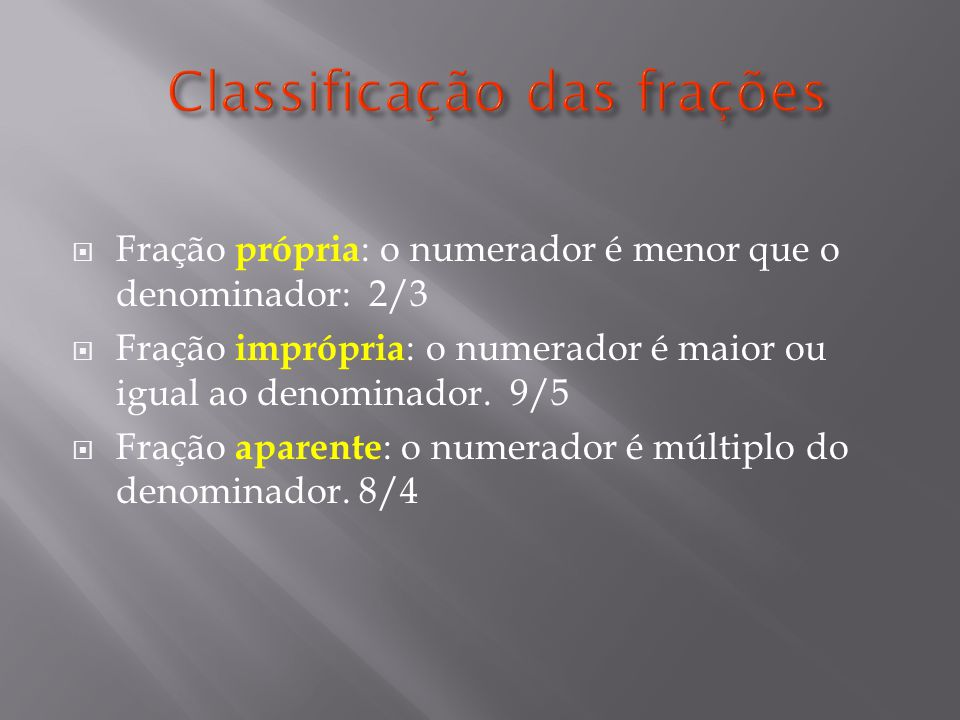 Classificação das frações