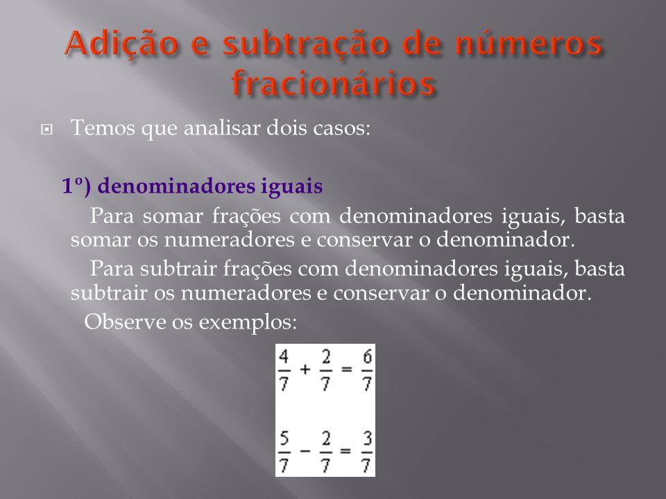 Adição e subtração de números fracionários