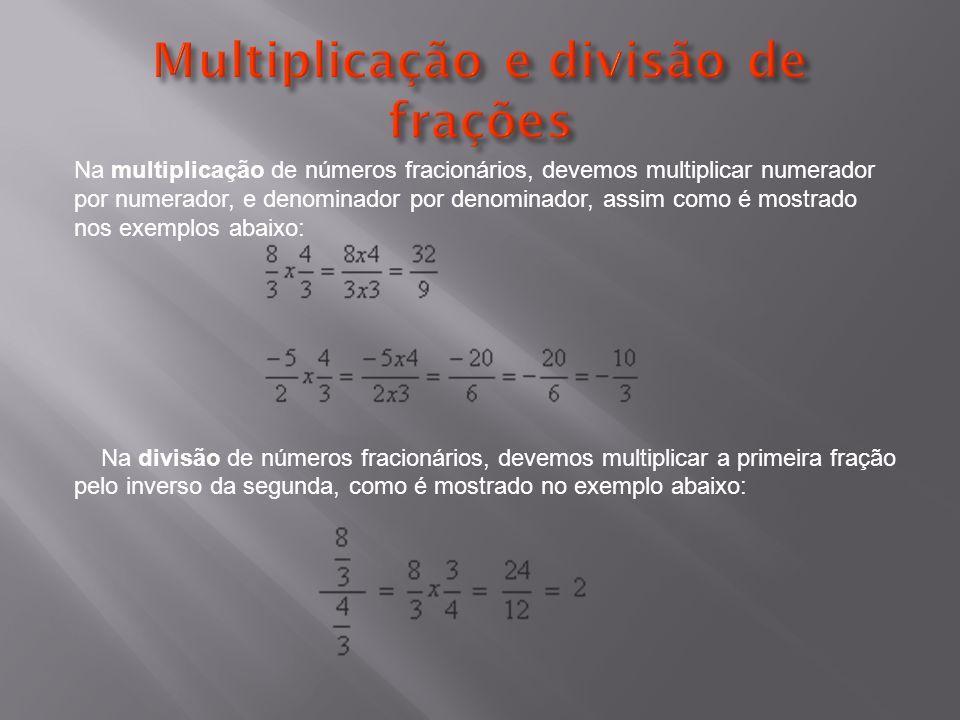 Multiplicação e divisão de frações
