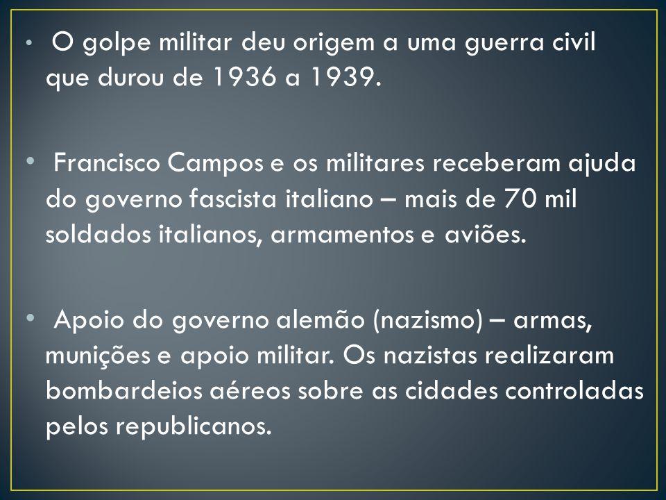 O golpe militar deu origem a uma guerra civil que durou de 1936 a 1939.