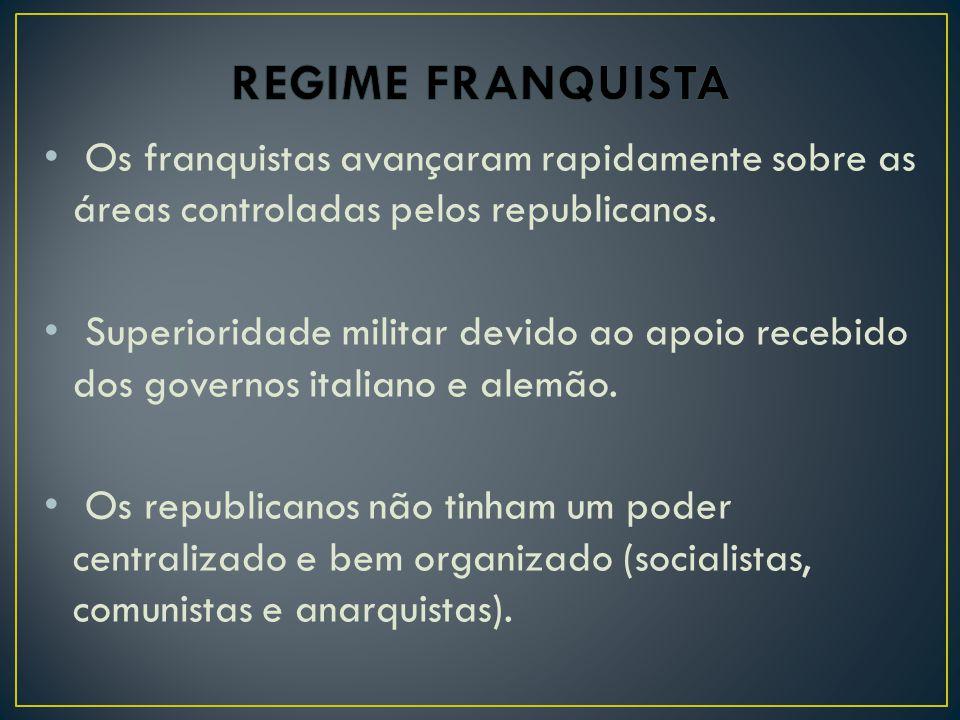REGIME FRANQUISTA Os franquistas avançaram rapidamente sobre as áreas controladas pelos republicanos.
