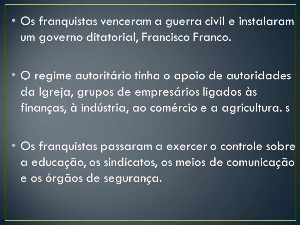 Os franquistas venceram a guerra civil e instalaram um governo ditatorial, Francisco Franco.