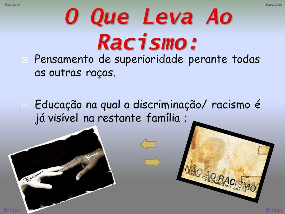 Racismo Racismo. O Que Leva Ao Racismo: Pensamento de superioridade perante todas as outras raças.