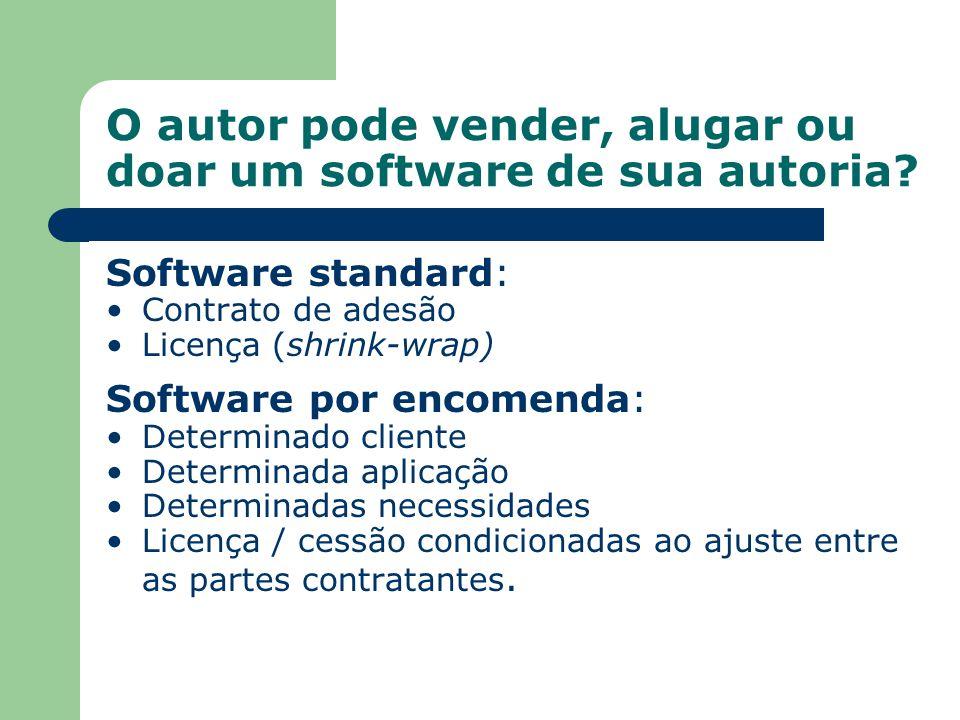 O autor pode vender, alugar ou doar um software de sua autoria