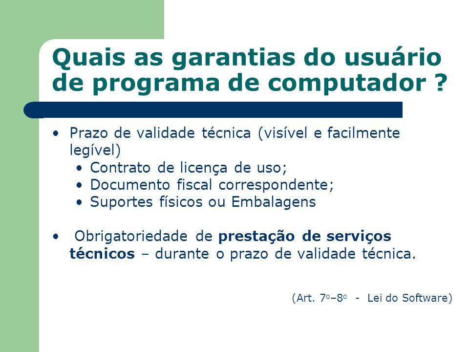 Quais as garantias do usuário de programa de computador