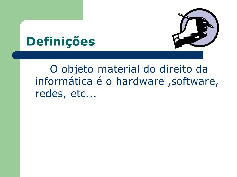 Definições O objeto material do direito da informática é o hardware ,software, redes, etc...