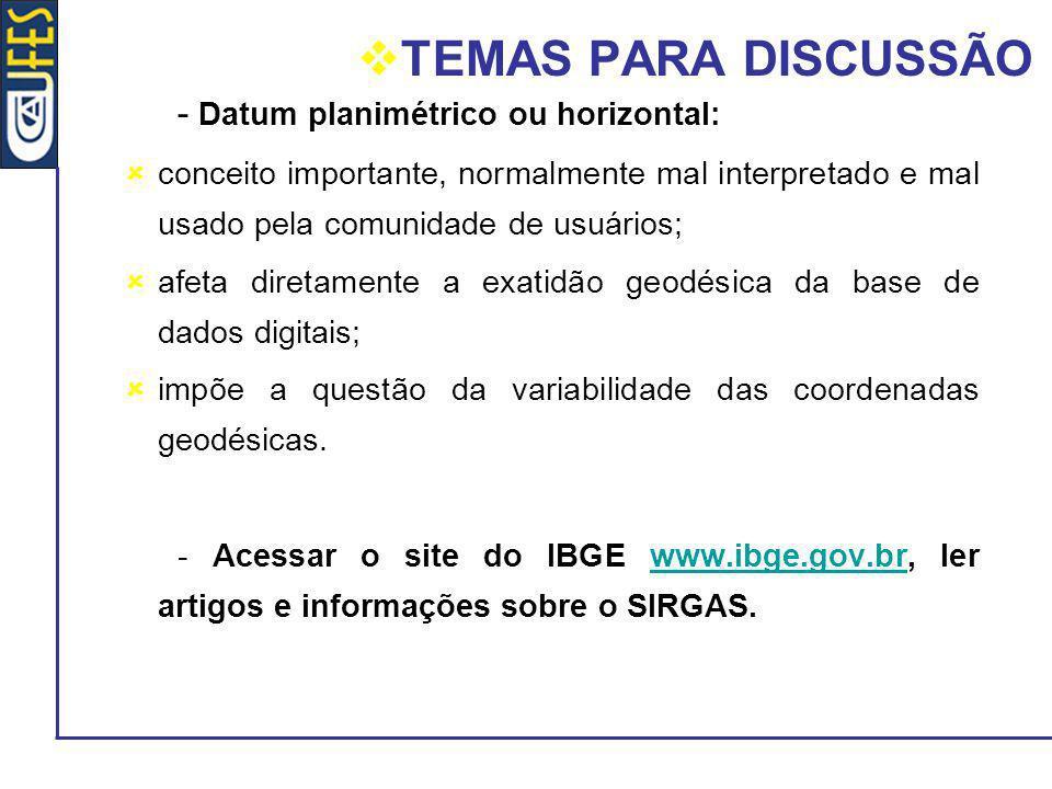 TEMAS PARA DISCUSSÃO - Datum planimétrico ou horizontal: