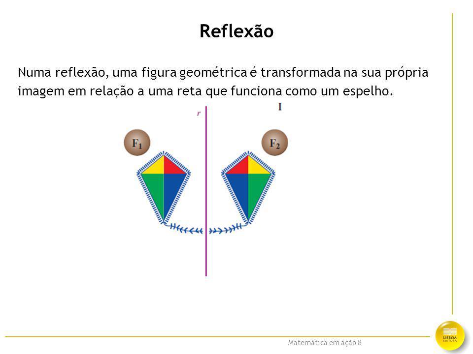 Reflexão Numa reflexão, uma figura geométrica é transformada na sua própria.