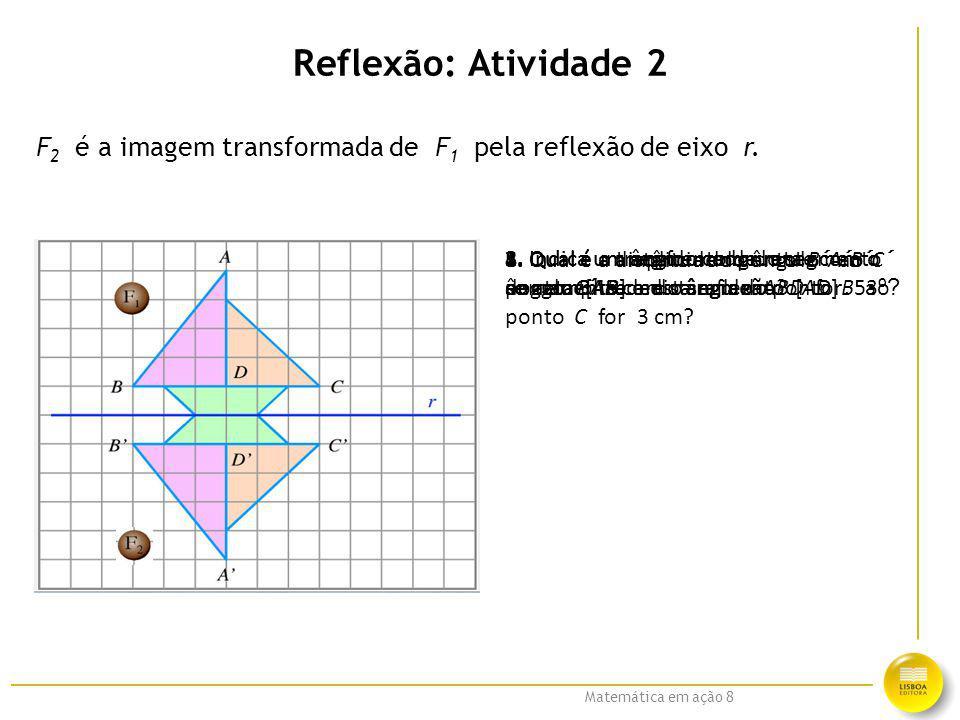 Reflexão: Atividade 2 F2 é a imagem transformada de F1 pela reflexão de eixo r.