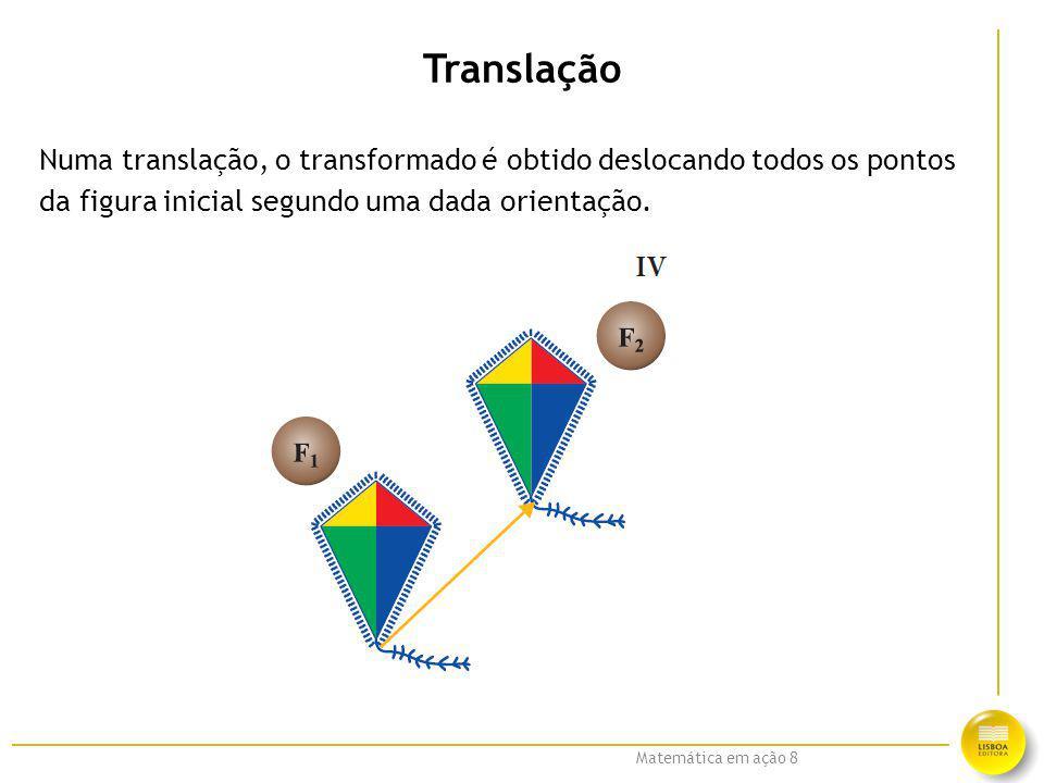 Translação Numa translação, o transformado é obtido deslocando todos os pontos.