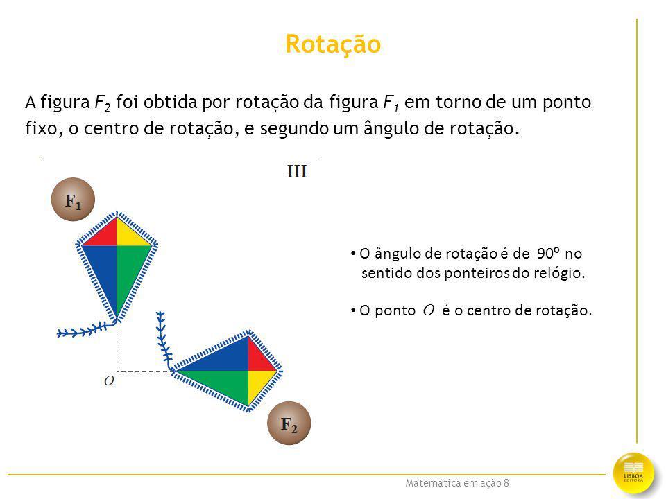 Rotação A figura F2 foi obtida por rotação da figura F1 em torno de um ponto. fixo, o centro de rotação, e segundo um ângulo de rotação.