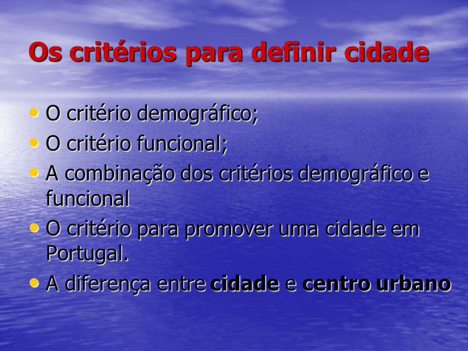 Os critérios para definir cidade