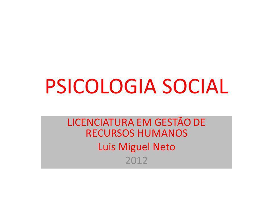 LICENCIATURA EM GESTÃO DE RECURSOS HUMANOS Luis Miguel Neto 2012