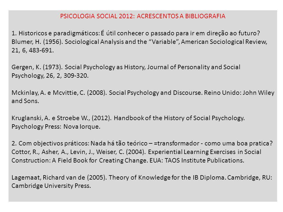 PSICOLOGIA SOCIAL 2012: ACRESCENTOS A BIBLIOGRAFIA
