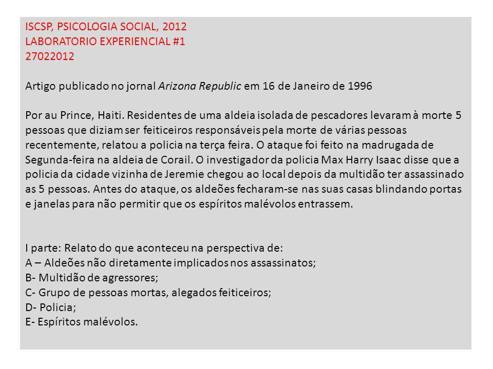 ISCSP, PSICOLOGIA SOCIAL, 2012