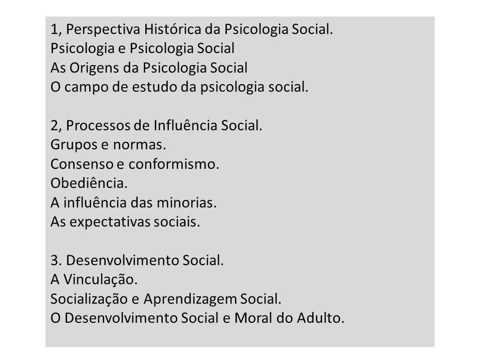 1, Perspectiva Histórica da Psicologia Social.