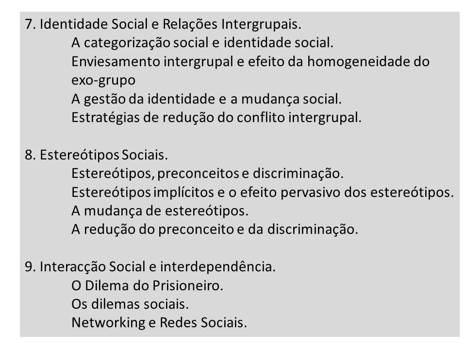7. Identidade Social e Relações Intergrupais.