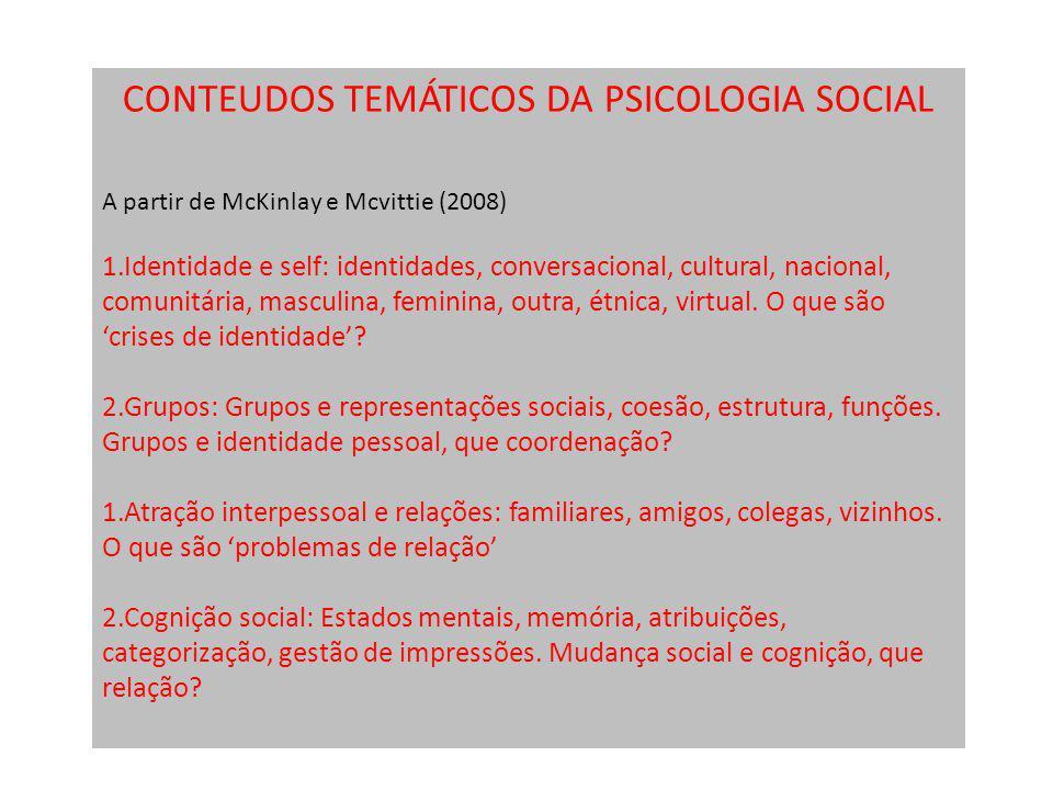 CONTEUDOS TEMÁTICOS DA PSICOLOGIA SOCIAL