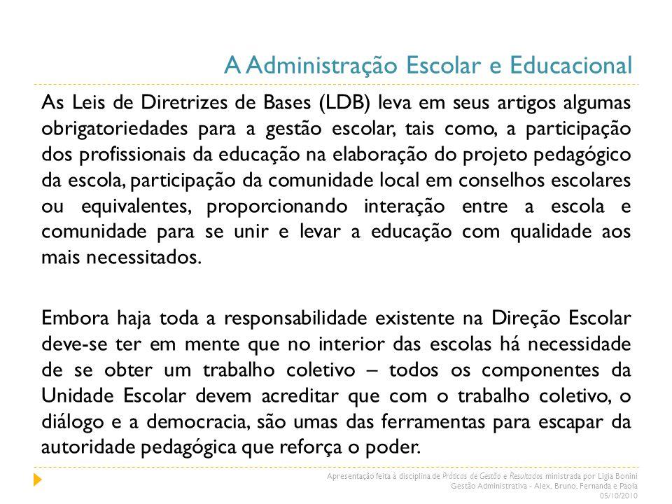 A Administração Escolar e Educacional