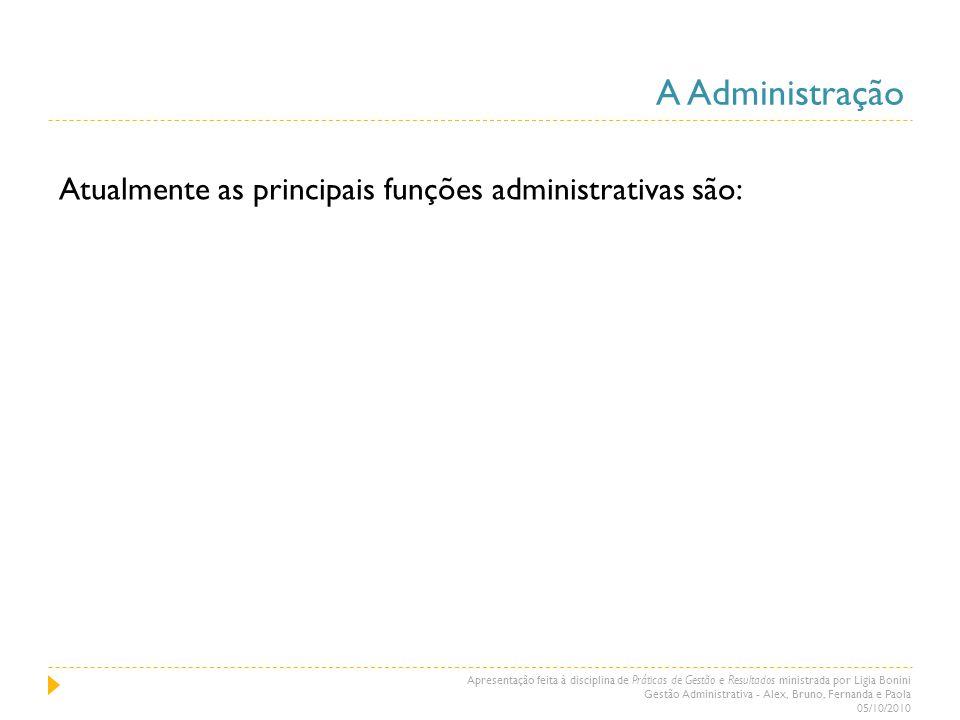 A Administração Atualmente as principais funções administrativas são: